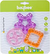 BAYBEE Natural BPA Free Silicone Teether Toy for Babies (Orange) - 3 Pieces