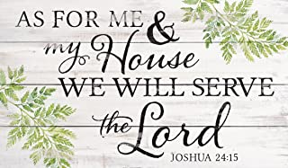 P. Graham Dunn My House Will Serve The Lord Whitewash 24 x 14 Wood Pallet Wall Plaque Sign