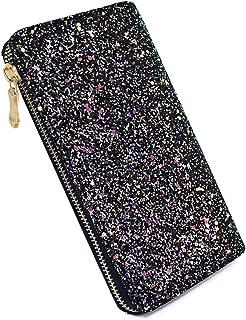 Laimi Duo Bling Black Glitter Clutch Shiny Handbag RFID Blocking Leather Wallet Multi Card Organizer for women