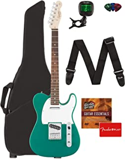 Fender Squier Affinity Series Telecaster Guitar - Laurel Fingerboard, Race Green Bundle with Gig Bag, Tuner, Strap, Picks, and Austin Bazaar Instructional DVD