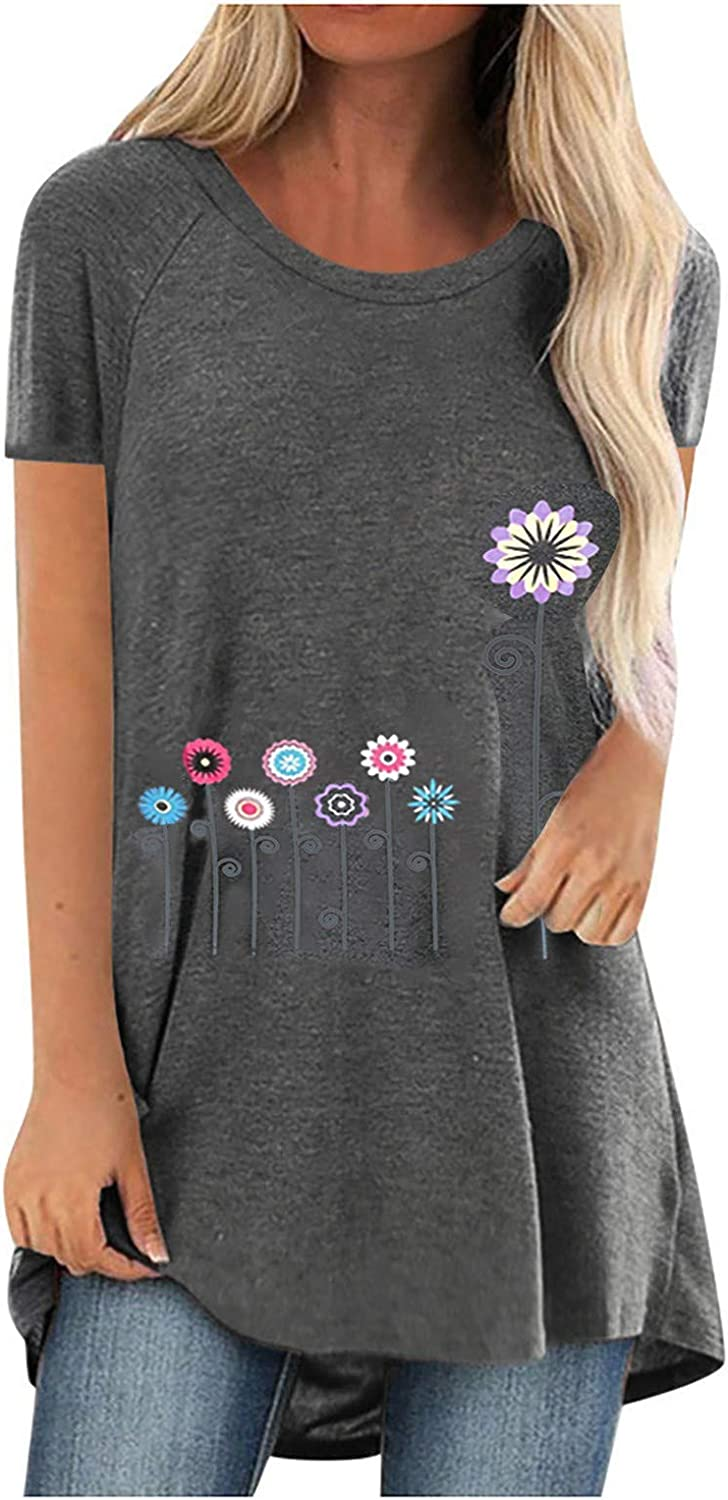 Women Print T-Shirt Short Sleeved Loos Long Max 68% OFF V-Neck Fashionable Blouse Casual
