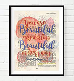 You are beautiful my darling - Song of Solomon 4:7 Christian ART PRINT, UNFRAMED, Vintage Bible verse scripture -abstract watercolor wedding shower wall poster gift, 8x10 inches