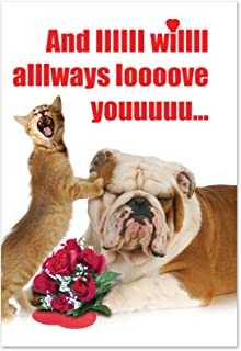 NobleWorks - And IIIIII Will Always - Funny Pet Animal Valentines Day Card - Dog & Cat Humor, Vday Greeting with Envelope 2180