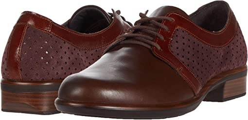 Burgundy Suede Perforated/Brown Leather Combination