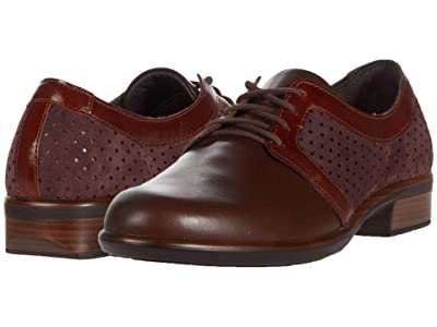 Naot Buran (Burgundy Suede Perforated/Brown Leather Combination) Women