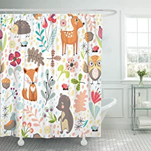 Emvency Shower Curtain Kids Colorful Hedgehog with Cute Cartoon Forest Animals on White Different Plants Children's Branch Fox Waterproof Polyester Fabric 72 x 72 inches Set with Hooks