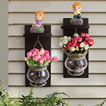 TIED RIBBONS Wood Wall Shelf with Flower Vase and Artificial Flowers (11.99 cm x 0.99 cm x 37.01 cm, Set of 2)