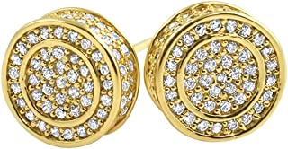 Gold Large 3D Circle Micro Pave Hip Hop Bling Earrings