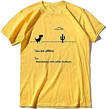 Cotton Men Dino Male Summer Funny t-Shirt tee Shirt Men You are Off line Print t Shirt