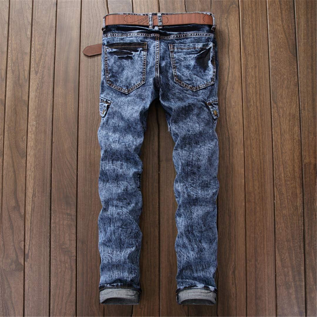 Taiernafi Les Poches des Hommes de Lavage Neige Jeans Biker Casual Pantalons Patchwork Denim Pantalons Longs Blue