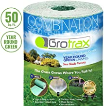 Grotrax Biodegradable Grass Seed Mat, Year Round Green - 50 Sq Ft Quick Fix Roll - All in One Growing Solution for Lawns, ...