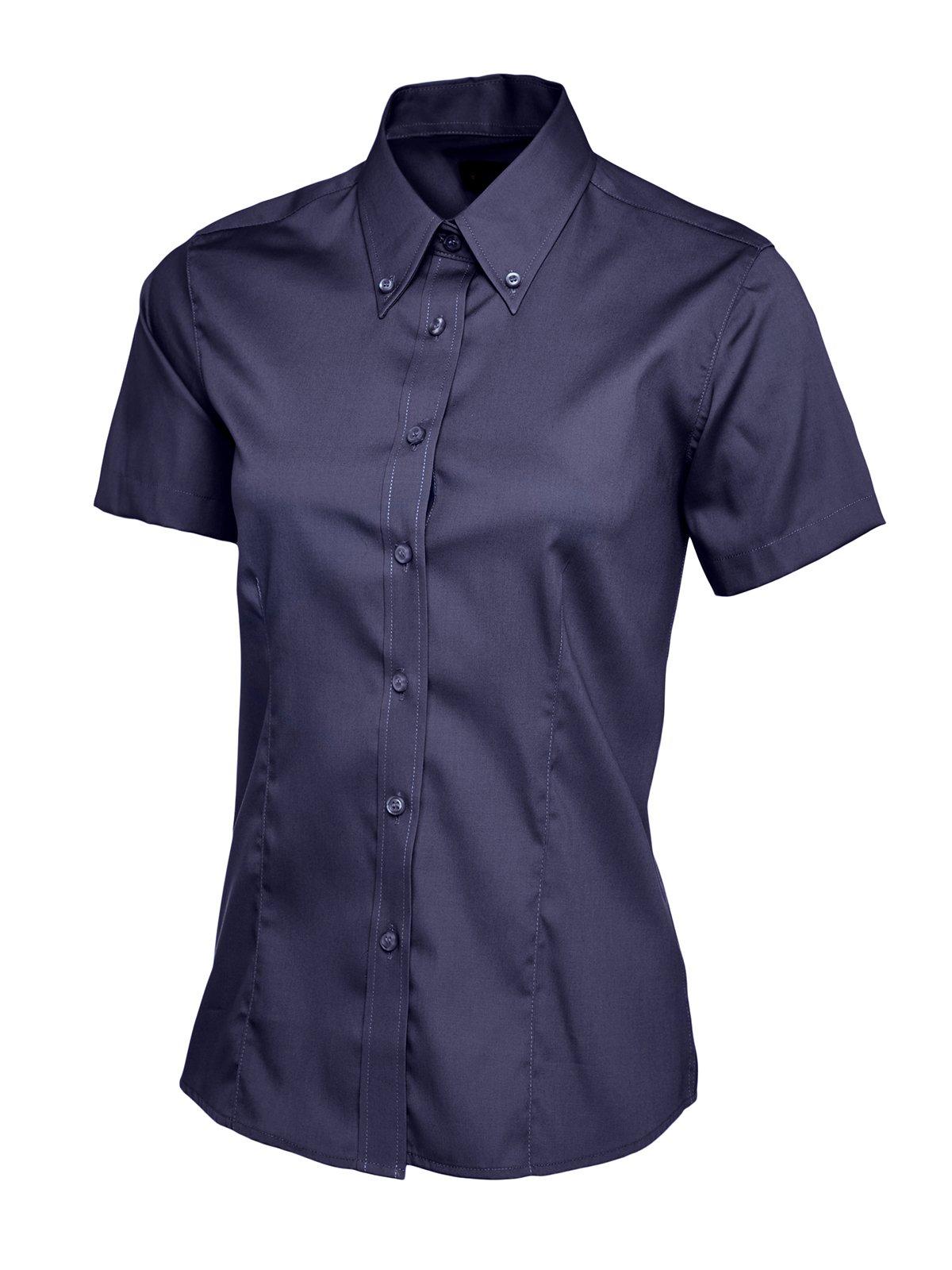 Pinpoint Oxford - Camisa de manga corta para mujer, diseño de negocios, color azul marino, algodón 15% elastano, poliéster, 7% poliéster, 93% 85% peinado, mujer, XS: Amazon.es: Ropa y accesorios