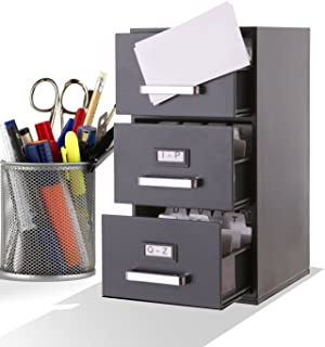 Mini File Cabinet Business Card Holder 3-Drawer