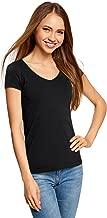 oodji Collection Damen T-Shirt Basic mit V-Ausschnitt