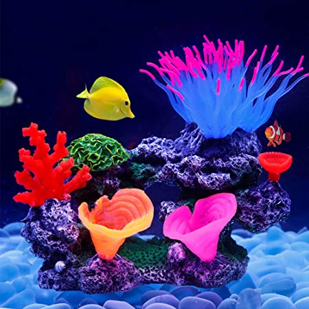 Aquarium Decorations Glow in The Dark Bluecoco Blue//Green Free-Form Sea Anemone Corals,Soft Silica Gel Moves Naturally with Water Flow Glowing Coral Ornaments for Fish Tank Decorations