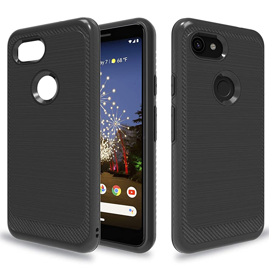 Wtiaw for:Google Pixel 3a Case,Google Pixel 3a Phone Case (Not fit Google Pixel 3a XL),[TPU+PC Material] [Brushed Metal Texture] Hybrid Dual Layer Defender Case for Google Pixel 3A-HL Black