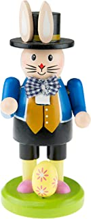 Clever Creations Gardening Bunny Spring Nutcracker Wearing Top Hat and Pink Shirt | Little Easter Egg at Feet | Collectible Wooden Nutcracker | Festive Holiday Decor | 100% Wood | 6