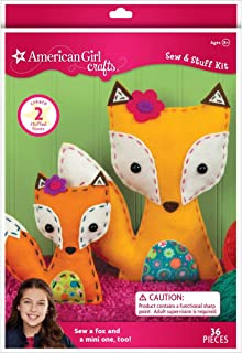 American Girl Crafts DIY Fox Stuffed Animals Sew and Stuff Kit, 8'' W x 10.5'' H and 5.25'' W x 6'' H