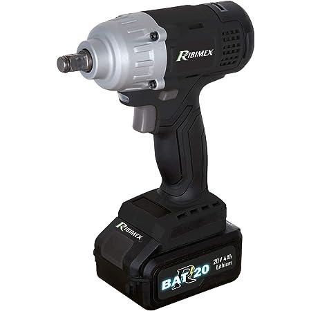 Ribimex PRBAT20/CC4 - Llave de Impacto a batería 20 V-4.0 Ah-RBAT20, Gris y Negro