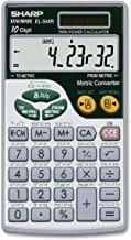 Sharp EL344RB 10-Digit Calculator with Punctuation, Metric Converter, Solar Powered LCD Display, Small Pocket Calculator for Students and Professionals