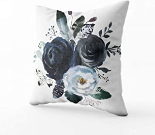 HerysTa Easter Home Decorative Cotton Throw Pillow Case 20X20inch Invisible Zipper Cushion Cases Watercolor Floral Wreath Roses Peonies Leaves Boho Grey Navy White Indigo Blue Square Sofa Bed Décor