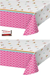 (2 Pack) Tea Time Tea Party Alice in Wonderland Plastic Table Cover 54 X 102 Inches (Plus Party Planning Checklist by Mikes Super Store)
