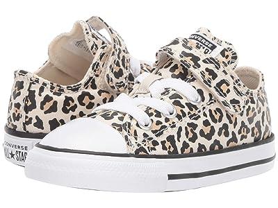 Converse Kids Chuck Taylor(r) All Star(r) 1V Leopard Print Ox (Infant/Toddler) (Black/Driftwood/Light Fawn) Girls Shoes