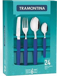 Tramontina Tableware set 24 Pcs, polypropylene handles & Steak Knife, Blue Munique Line