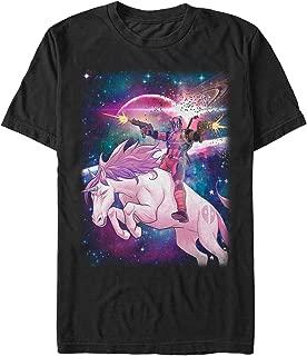 Marvel Men's Legendary Deadpool on Space Unicorn T-Shirt
