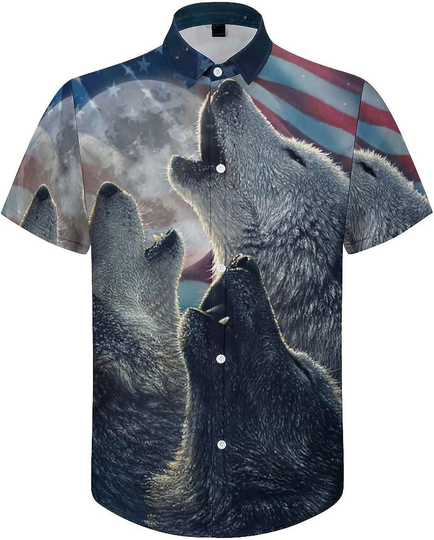 Hawaiian Shirts for Men American Wolf Flag Printed Beach Shirt Hawaiian Shirts