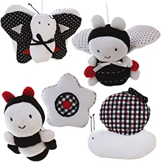 SHILOH Baby Infant Crib Stroller Mobile Hanging Rattles Set 5 PCS (White & Black)