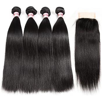 Hermosa Brazilian Straight Hair 4 Bundles with Closure (20 22 24 26+18) 9A Unprocessed Virgin Brazilian Hair with Closure Human Hair Natural Black