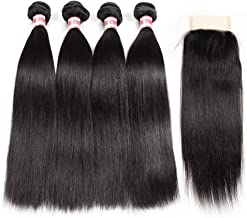 Hermosa Brazilian Straight Hair 4 Bundles with Closure 9A Unprocessed Virgin Brazilian Hair with Closure Human Hair Natural Black (16 18 20 22 with 14 closure)