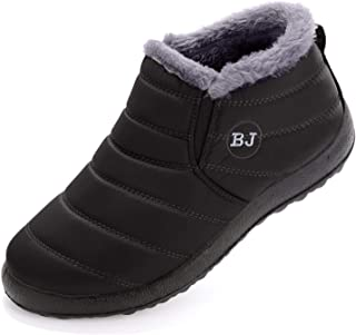 Womens Snow Boots Winter Warm Booties Fur Lined Anti-Slip Ankle Boots Outdoor Slip On Waterproof Booties Comfortable Warm Shoes