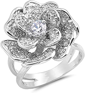 CHOOSE YOUR COLOR Sterling Silver Large Rose Flower Ring