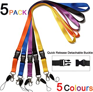 5 Pack Office Neck Lanyards Detachable Buckle Enhanced Model Hook breakaway Strap Quick Release safety lanyard for ID Badge,Key,women men Cell Phones USB Whistles Nylon Black,blue,yellow,orange,purple