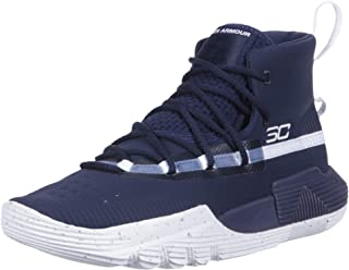 Under Armour Boys' Grade School SC 3Zer0 II Basketball Shoe, Midnight Navy (401)/White, 4.5