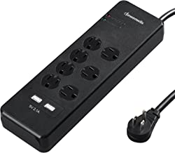 DEWENWILS 7-Outlet Surge Protector Power Strip with Right Angle Flat Wall Plug, 2 Smart USB Ports, 6 Feet Heavy Duty Extension Cord, 15 AMP Circuit Breaker, 1780 Joules, Wall Mount, UL Listed, Black