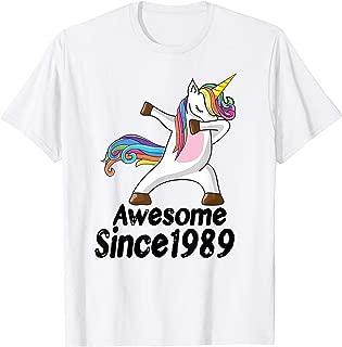 30th Birthday Gift Awesome Since 1989 Unicorn Dabbing Shirt