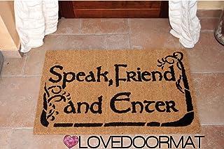 ZERBINO SPEAK FRIEND AND ENTER PERSONALIZZABILE DA INTERNO COCCO NATURALE CM. 67x50 SPAZZOLA ASCIUGA SPORCO LOVEDOORMAT ® ...