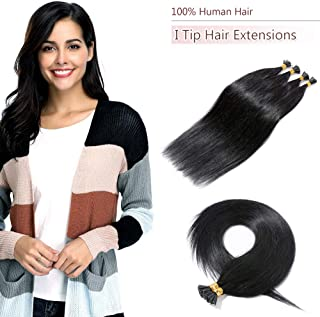100 Strands/Pack I Tip Remy Human Hair Extensions Pre Bonded Keratin Stick In Hair Extensions Cold Fusion Hair Piece For Women Long Straight #1 Jet Black 18'' 50g