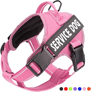 Service Dog Harness, No Pull Dog Harnesses with Handle - Breathable and Easy Adjust Dog Walking Vest for Small Medium Large Dogs - No More Pulling, Tugging or Choking (with 2 Velcro Patches)