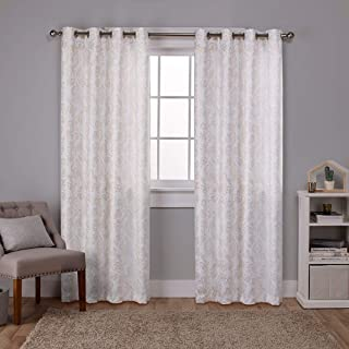 Exclusive Home Curtains Watford Distressed Metallic Print Thermal Window Curtain Panel Pair with Grommet Top, 52x108, Winter White, Gold, 2 Piece