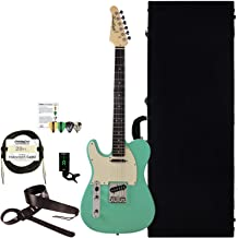 Sawtooth 6 String Solid-Body Electric Guitar, Left-Handed Surf Green, Hard Case & Accessories (ST-ES60-LH-SGR-KIT-2)