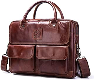 Leather Man's Bag Single-Shoulder Man's Tote Layer Business Briefcase in Cowhide Horizontal Style Slung Casual Fashionable Backpack (Color : Brown, Size : S)