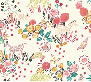 York Wallcoverings Waverly Kids Reverie Removable Wallpaper, White/Coral/Orange/Yellow/Green/Teal