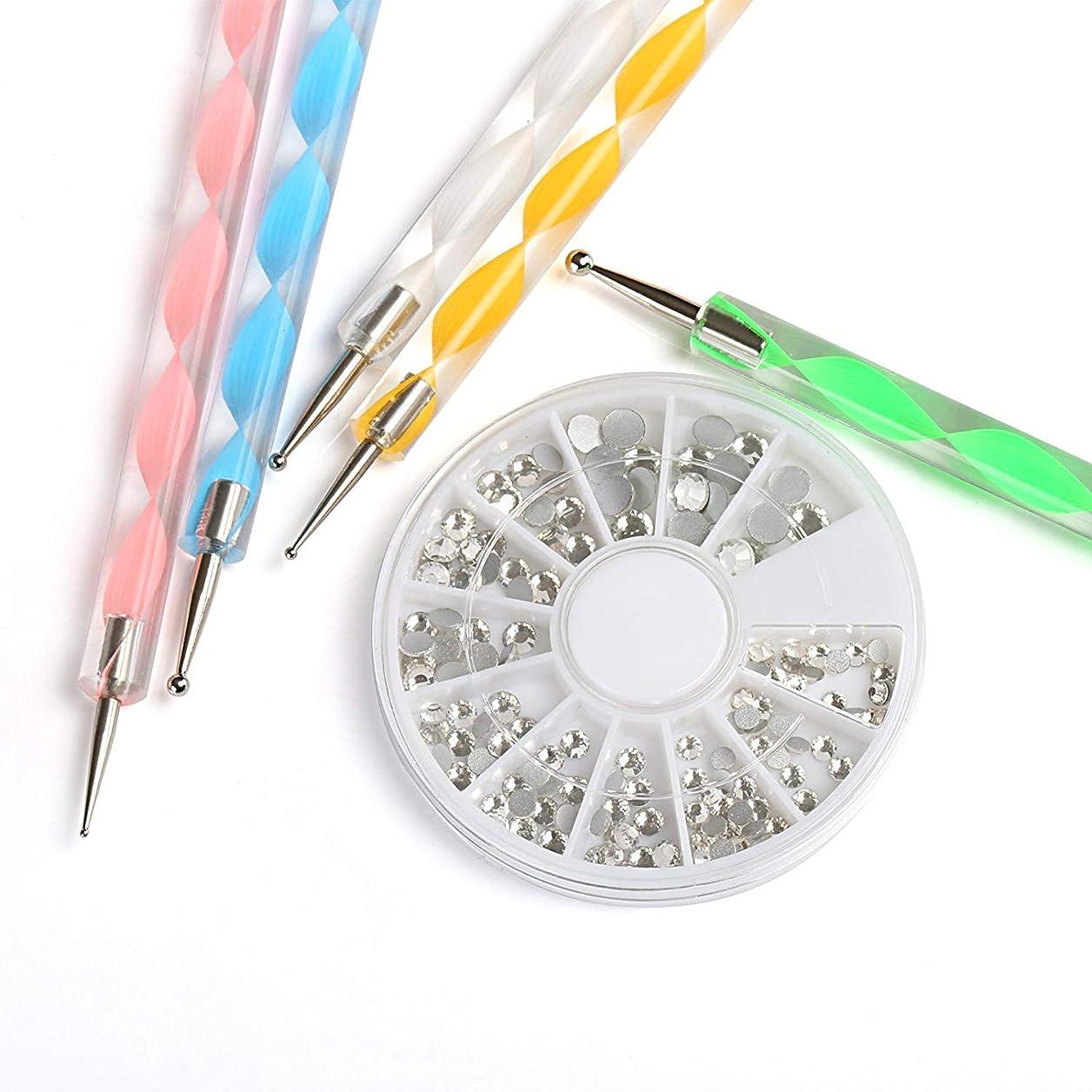 多数の鋸歯状輪郭NALER ネイルデザイン ドッティングラインストーンネイルアートドットペン ドット棒 5本