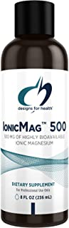 Designs for Health IonicMag 500 Liquid Magnesium with Trace Minerals - 500mg Ionic Magnesium Supplement + Chloride, Potass...