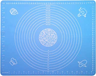 DAIWEIS Extra Large Silicone Baking Mat for Pastry Rolling with Measurements Pastry Rolling Mat, Reusable Non-Stick Silicone Baking Mat (blue)