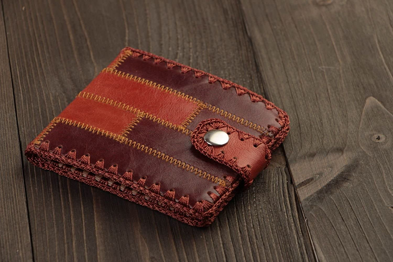 Handmade Designer Men's Wallet Sewn Of Genuine Leather Of Dark Brown color